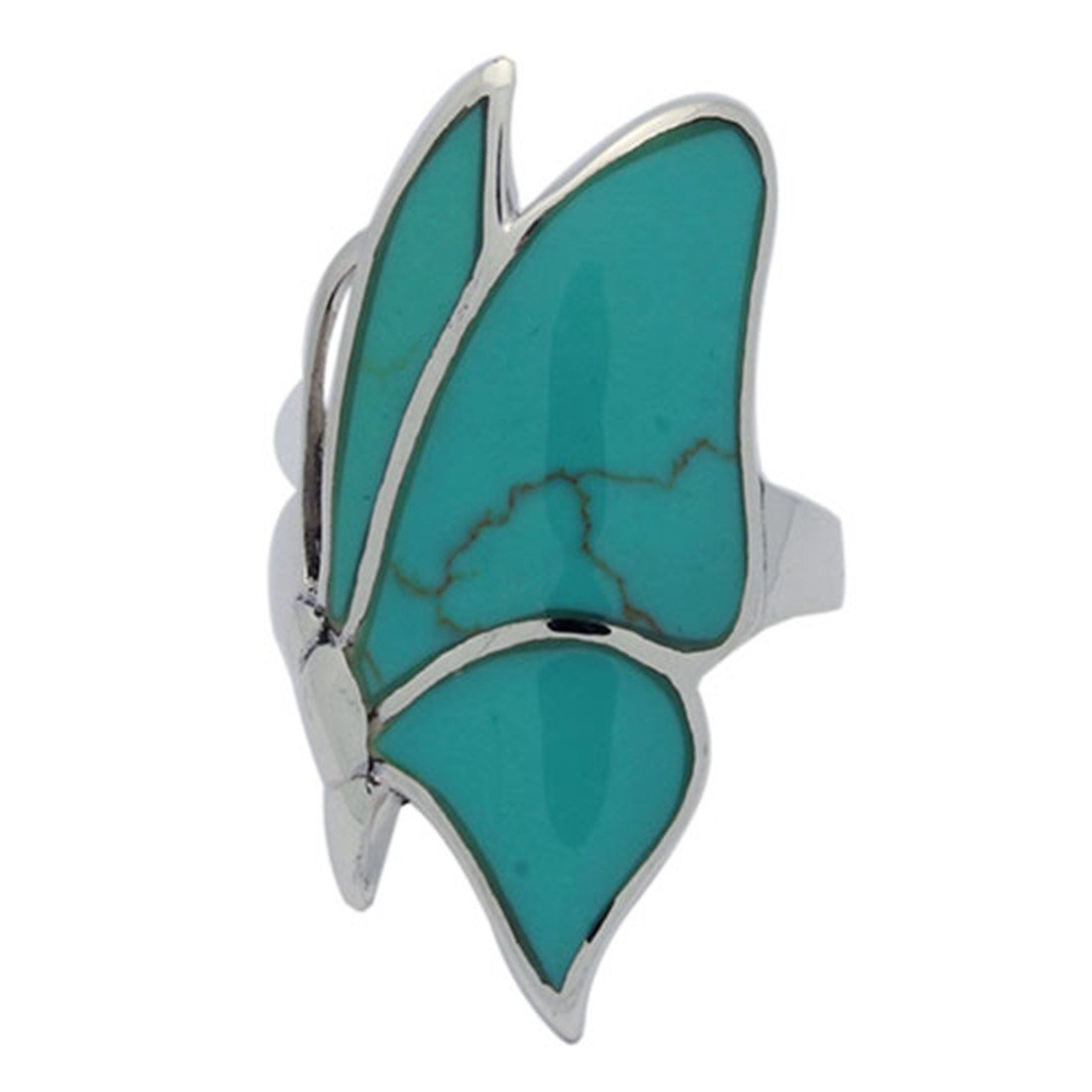 Butterfly Ring Simulated Stone Created Green Turquoise 925 Sterling Silver
