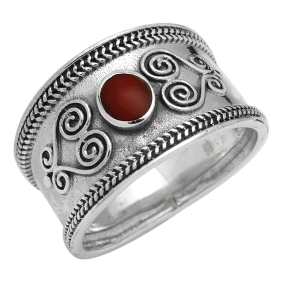 Filigree Swirl Bali Ring Simulated Coral Stone CZ 925 Sterling Silver