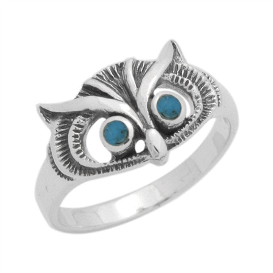 Owl Ring Simulated Blue Turquoise 925 Sterling Silver
