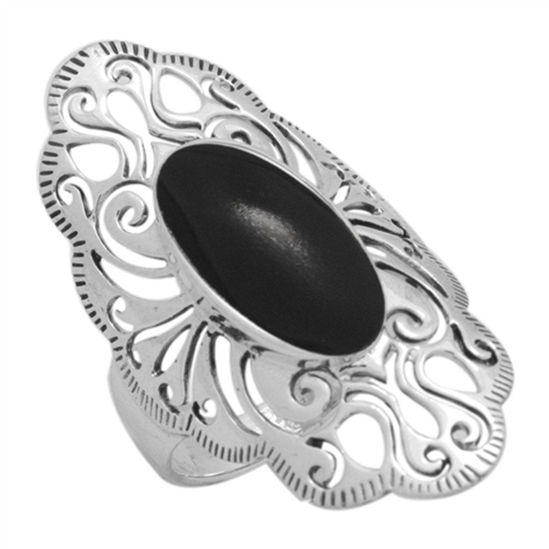 Ring Filigree Oval Simulated Onyx CZ 925 Sterling Silver