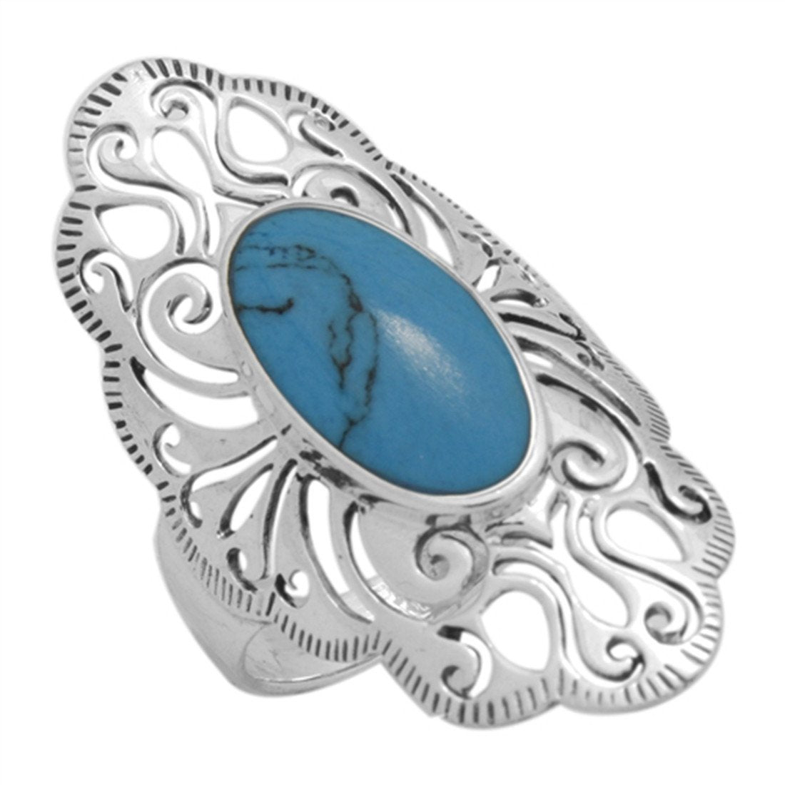 Ring Filigree Oval Simulated Blue Turquoise CZ 925 Sterling Silver
