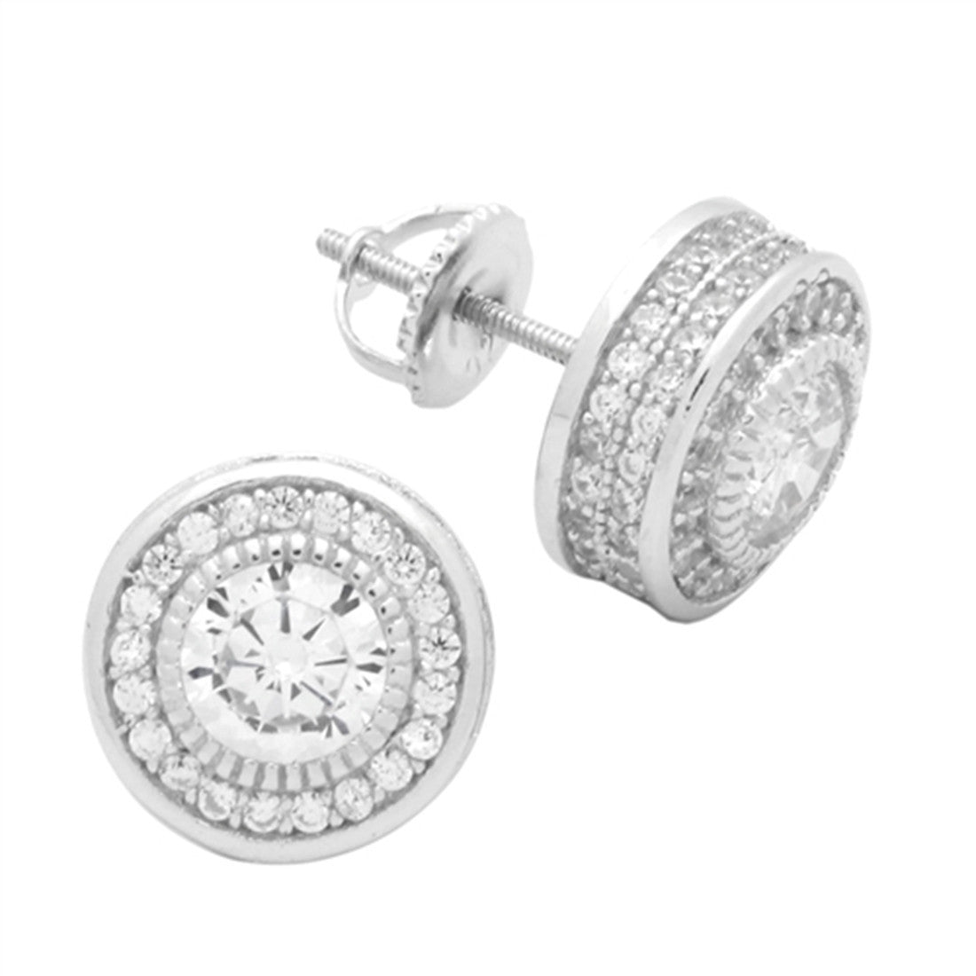 4a1db3177 ... Stud Earring Round Cubic Zirconia 925 Sterling Silver Screw Back Men  Women. Tap to expand