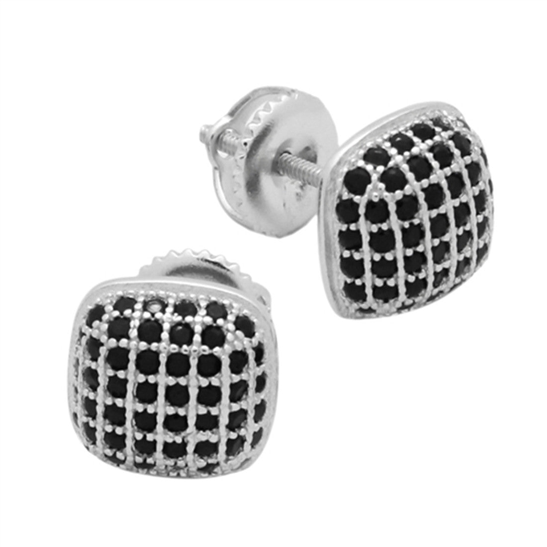 93ec3c35d ... Sterling Silver. 9mm Square Hip Hop Stud Earrings Men Women Unisex Pave  Black Cubic Zirconia Screw Back 925. Tap to expand