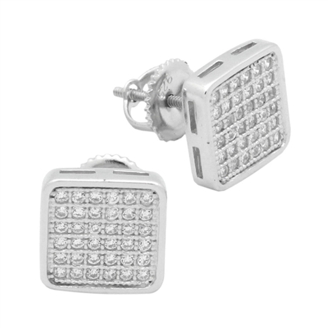 b270b9835 ... Zirconia 925 Sterling Silver. 9mm Square Hip Hop Screw Back Men Women  Unisex Stud Earring Round Pave Ice Cubic Zirconia. Hover to zoom