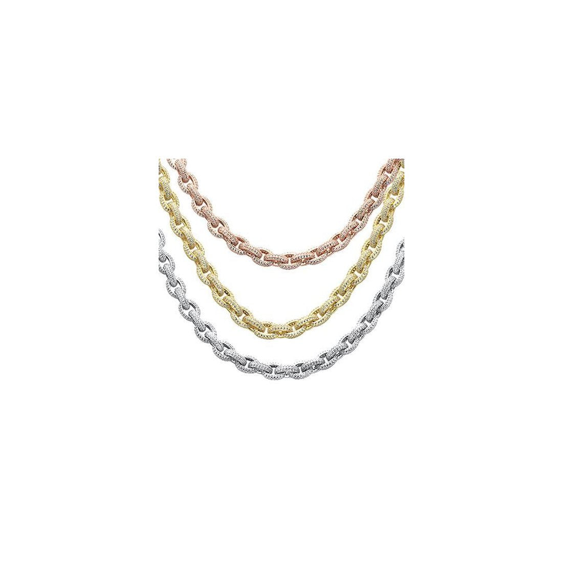 10mm Circle Link Micro Pave Yellow Tone .925 Sterling Silver Chain 26""