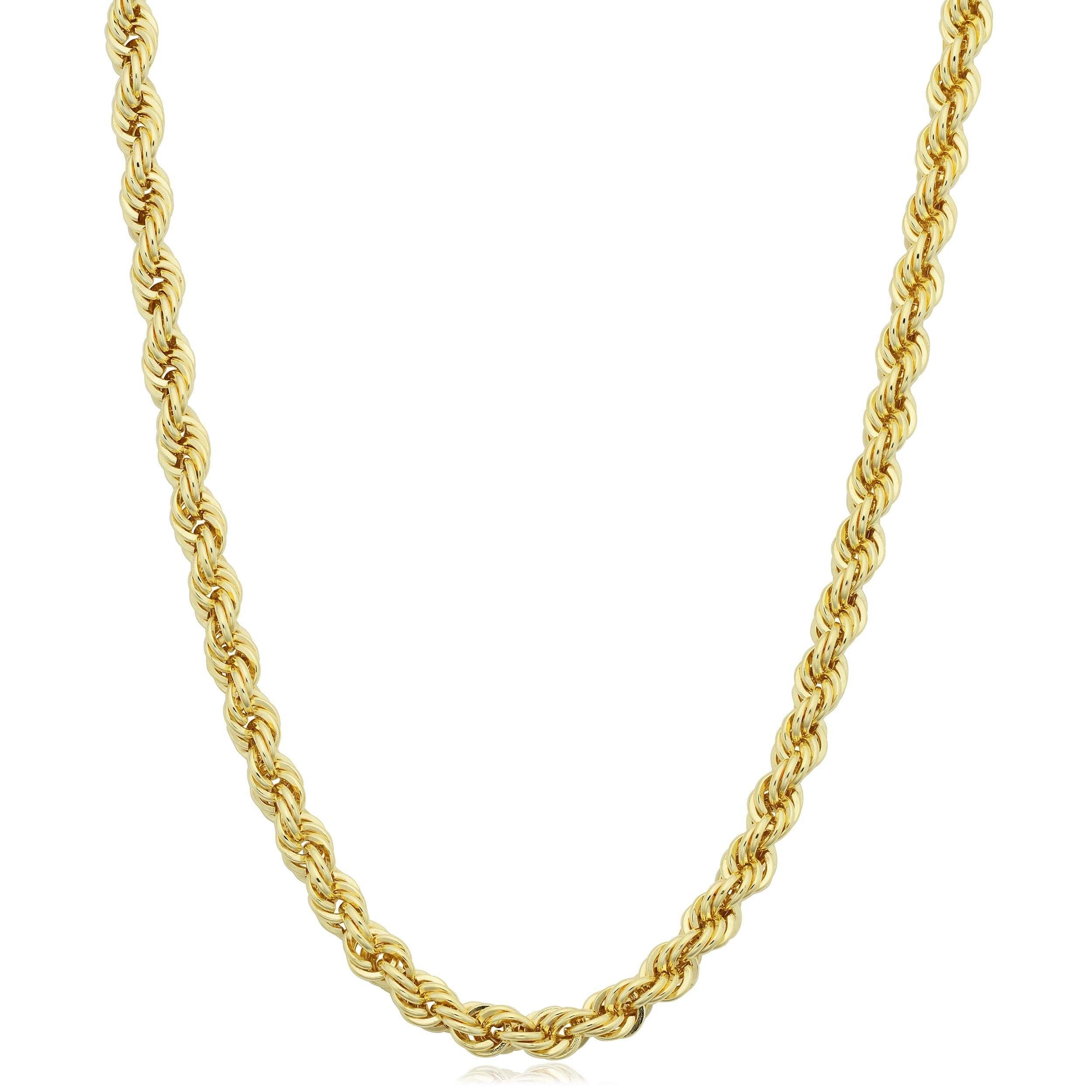 "9MM Rope Chain Yellow Tone .925 Solid Sterling Silver Sizes ""26"" Inch"