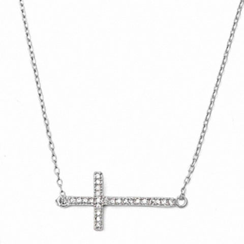 Sterling Silver Cubic Zirconia Sideway Cross Necklace