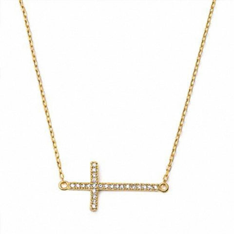 Yellow Gold Plated Sterling Silver Cubic Zirconia Sideway Cross Necklace