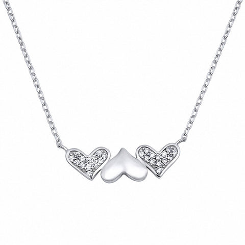Heart Necklace Round Simulated Cubic Zirconia 925 Sterling Silver