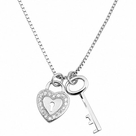 Key to Heart Necklace Round Simulated Cubic Zirconia 925 Sterling Silver