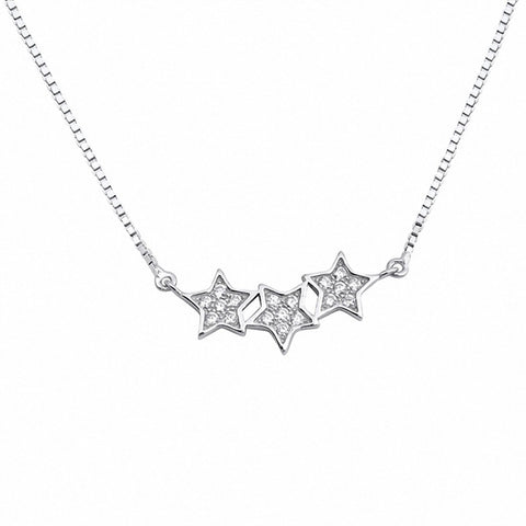 Star Necklace Round Simulated Cubic Zirconia 925 Sterling Silver