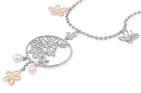Silver Necklace - Plumeria & Butterfly