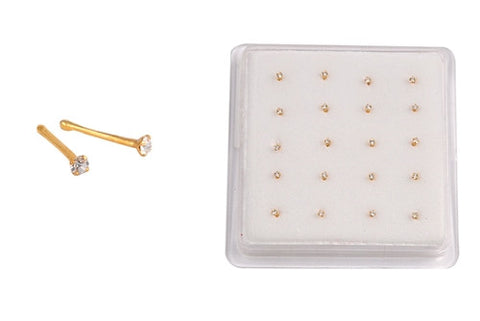 Silver Nose Stud - Clear CZ w/Ball End - 1.8 mm