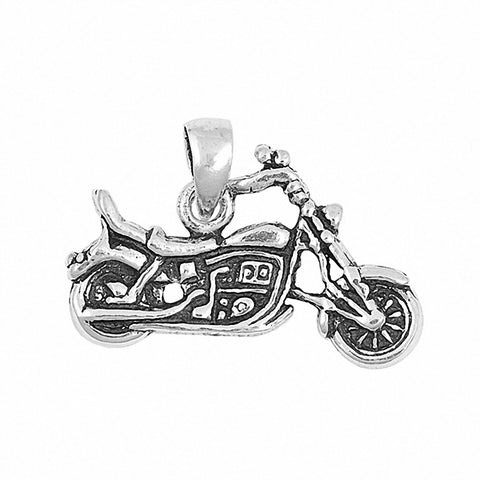 Motorcycle Bike Pendant 925 Sterling Silver Choose Color