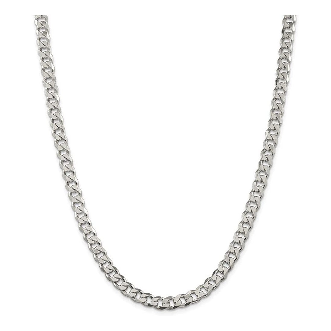 "6MM 150 Pave Curb Chain .925 Solid Sterling Silver Available In 8""-30"" Inches"