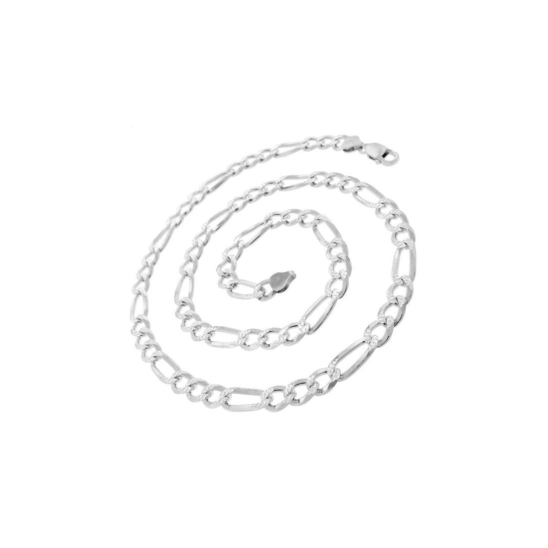 "7.2MM 180 Pave Figaro Chain .925 Solid Sterling Silver Available In ""8-28"" Inches"