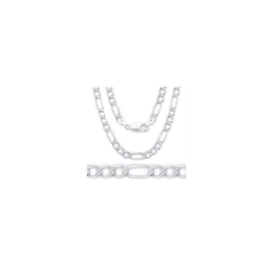 "3MM 080 Figaro Pave Link Chain .925 Solid Sterling Silver Available In ""7-30"" Inches"
