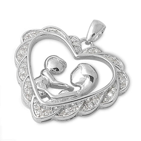 Heart Mother Child Pendant Round Cubic Zirconia 925 Sterling Silver Mothers Day Gift Choose Color
