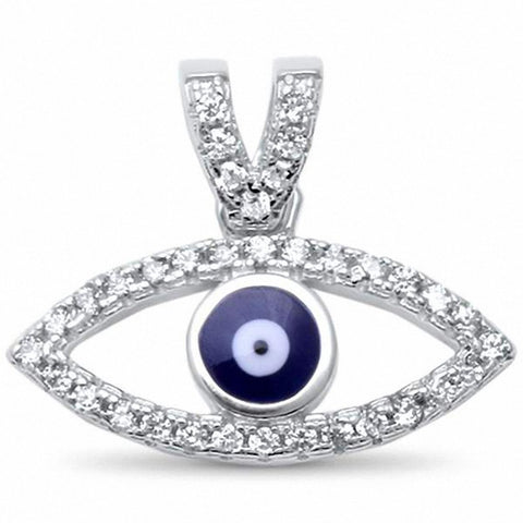 Marquise Design Blue Evil Eye Pendant Round Cubic Zirconia 925 Sterling Silver Choose Color