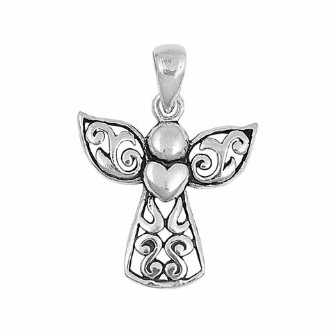 Angel Heart Pendant 925 Sterling Silver Choose Color
