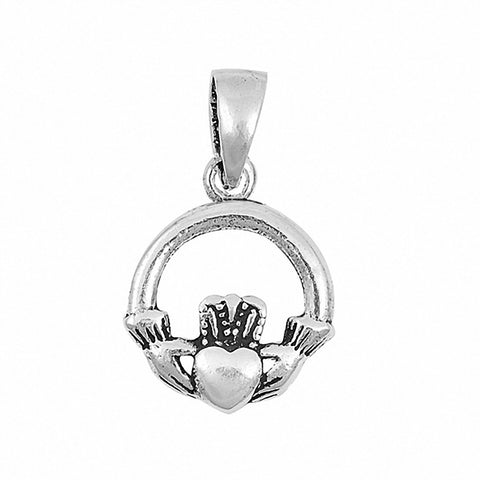 Irish Claddagh Pendant 925 Sterling Silver Choose Color