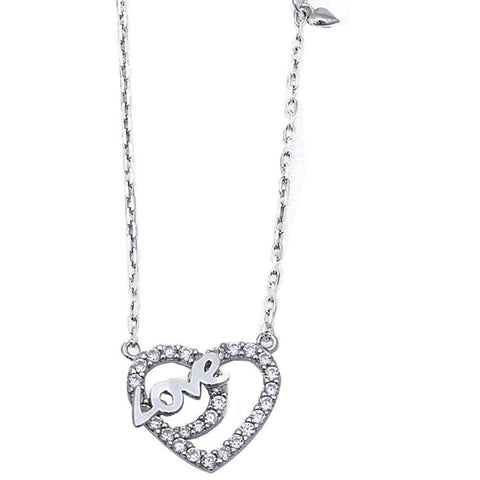 "Heart Love Pendant 18"" Necklace Round Cubic Zirconia 925 Sterling Silver"