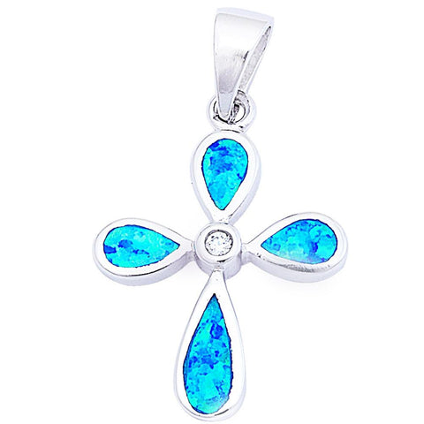 "Blue Opal & Cz Cross .925 Sterling Silver Pendant 1.5"" long"