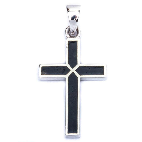 Black Onyx Cross .925 Sterling Silver Pendant 1.25' long