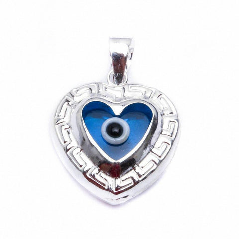 Blue Evil Eye Heart .925 Sterling Silver Pendant