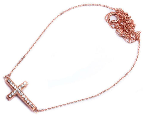"Rose Gold Plated CZ Cross .925 Sterling Silver Pendant Necklace Attached 16""+1.5""Ext Chain"