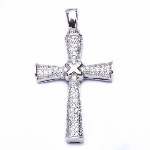 Pave Cz Cross .925 Sterling Silver Pendant 1.5""