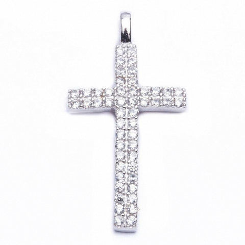 Cz Cross .925 Sterling Silver Pendant 1.25""