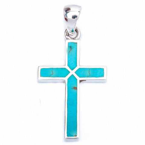 Blue Turquoise Cross .925 Sterling Silver Pendant 1.25' long