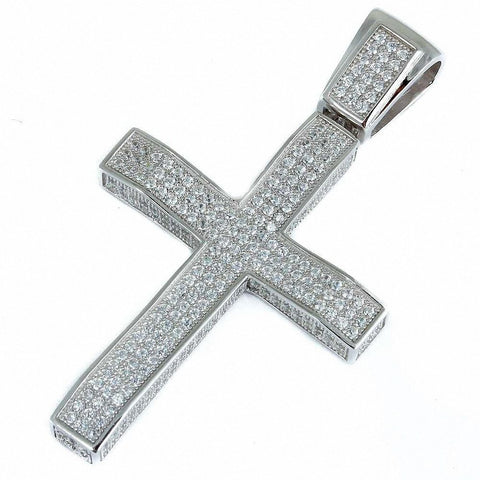 Heavy HipHop 3.5CT Micro Pave Cz Cross .925 Sterling Silver Pendant 2.35""
