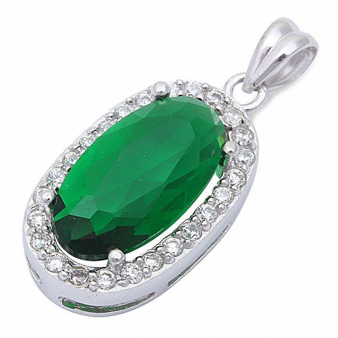 "Beautiful Green Emerald & Cz .925 Sterling Silver Pendant 1"" Long"