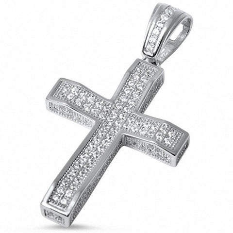 Micro Pave Cubic Zirconia Cross .925 Sterling Silver Pendant