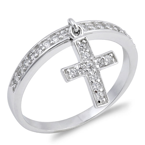 Dangling Cross Round Simulated Cubic Zirconia Wedding Ring 925 Sterling Silver
