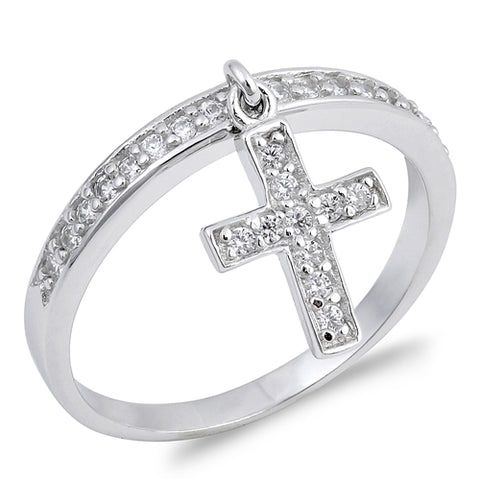 Dangling Cross Round Simulated CZ Wedding Ring 925 Sterling Silver