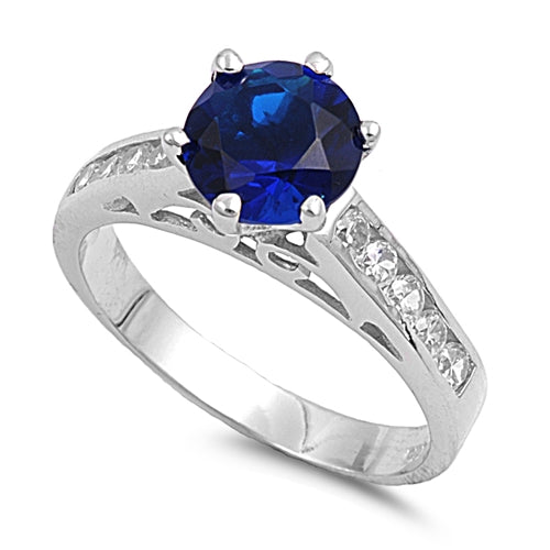 Solitaire Accent Engagement Ring Round Simulated Blue Sapphire Cubic Zirconia 925 Sterling Silver
