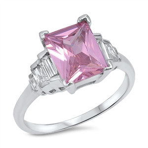 Accent Engagement Ring Radiant Cut Simulated Pink Topaz Baguette CZ 925 Sterling Silver