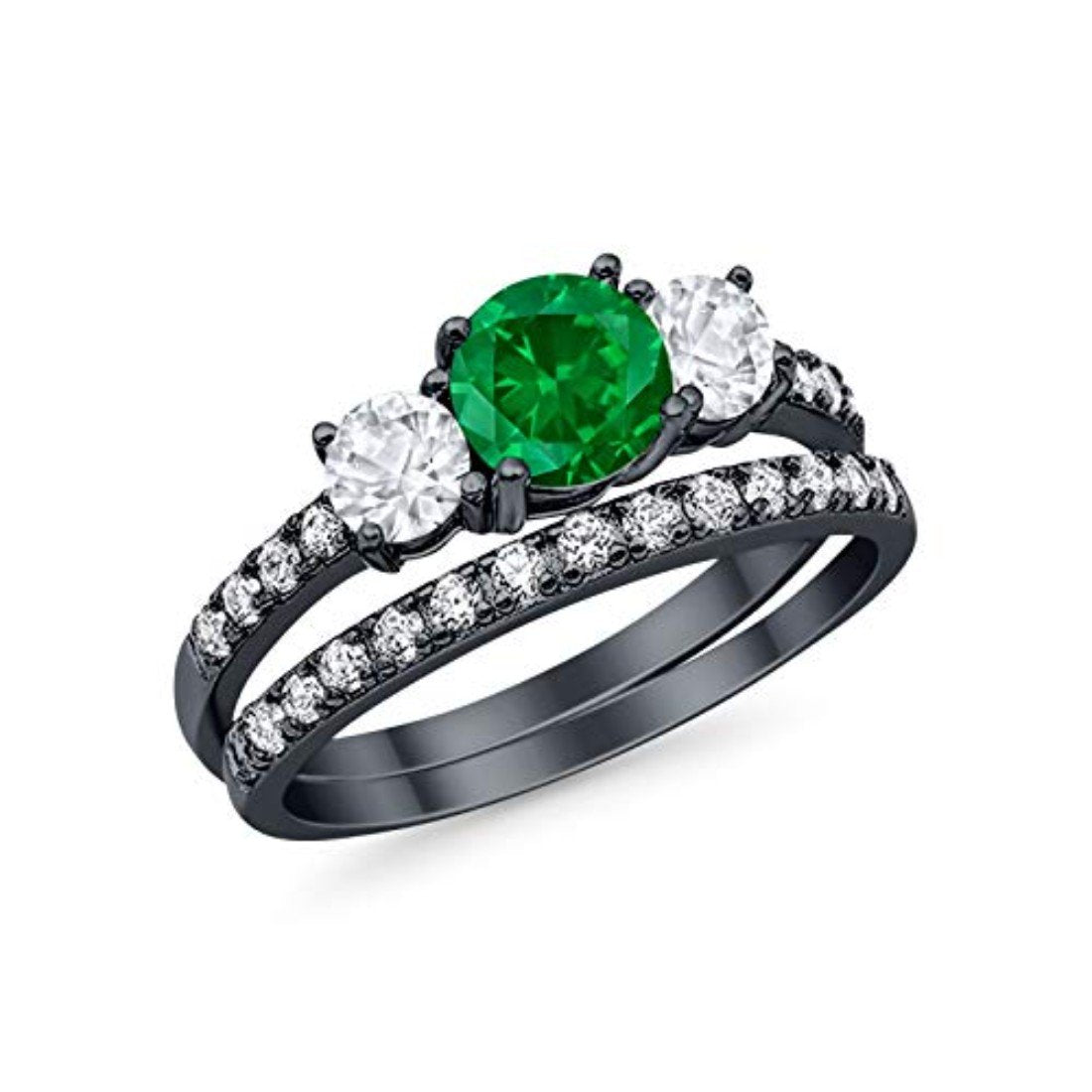 Wedding Piece Ring Black Tone, Simulated Green Emerald CZ 925 Sterling Silver
