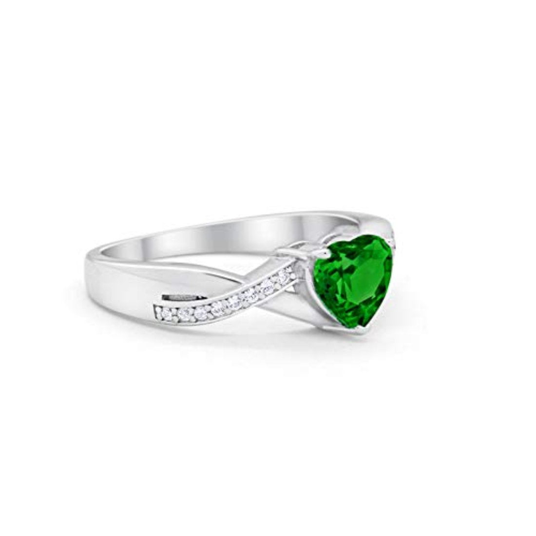 Accent Wedding Ring Heart Shape Simulated Green Emerald CZ Round 925 Sterling Silver