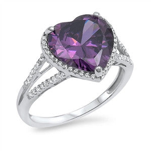 Halo Heart Ring Split Shank Simulated Amethyst CZ 925 Sterling Silver