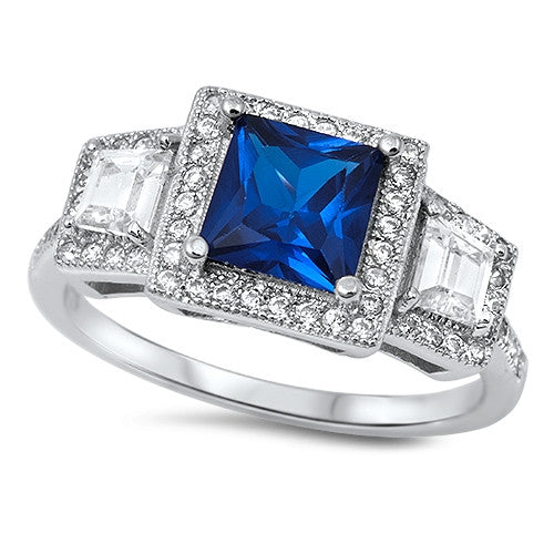 Halo Princess Cut Simulated Blue Sapphire CZ Engagement Ring 925 Sterling Silver