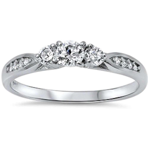 Wedding Engagement Fashion Ring Round Cubic Zirconia 925 Sterling Silver