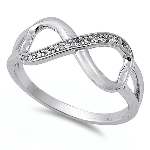 Infinity Crisscross Round Simulated CZ Promise Ring 925 Sterling Silver