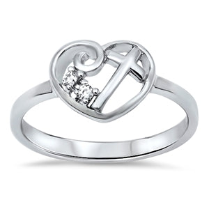Heart Cross Ring Round Simulated Cubic Zirconia 925 Sterling Silver