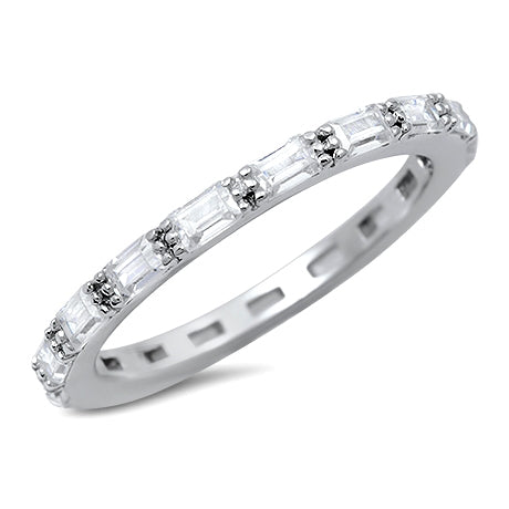 Baguette Simulated CZ Stackable Wedding Ring 925 Sterling Silver