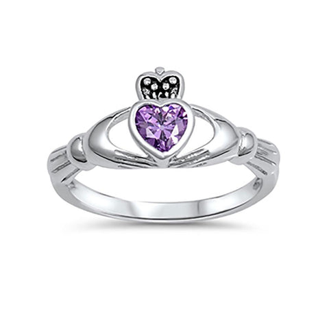 Irish Claddagh Heart Promise Ring Simulated Amethyst 925 Sterling Silver