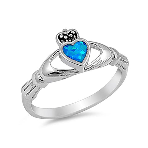 Irish Claddagh Heart Promise Ring Lab Blue Opal 925 Sterling Silver